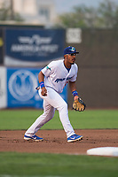 Ogden Raptors third baseman Jefrey Souffront (29) during a Pioneer League game against the Great Falls Voyagers at Lindquist Field on August 23, 2018 in Ogden, Utah. The Ogden Raptors defeated the Great Falls Voyagers by a score of 8-7. (Zachary Lucy/Four Seam Images)