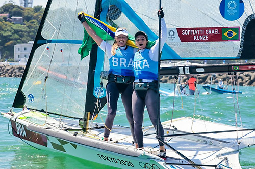 Martine Grael (right) and Kahena Kunze (BRA) successfully defended the Olympic title they won in Rio 2016