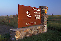 AJ0390, South Dakota, Waubay National Wildlife Refuge entrance sign. Home to many species of birds and mammals.