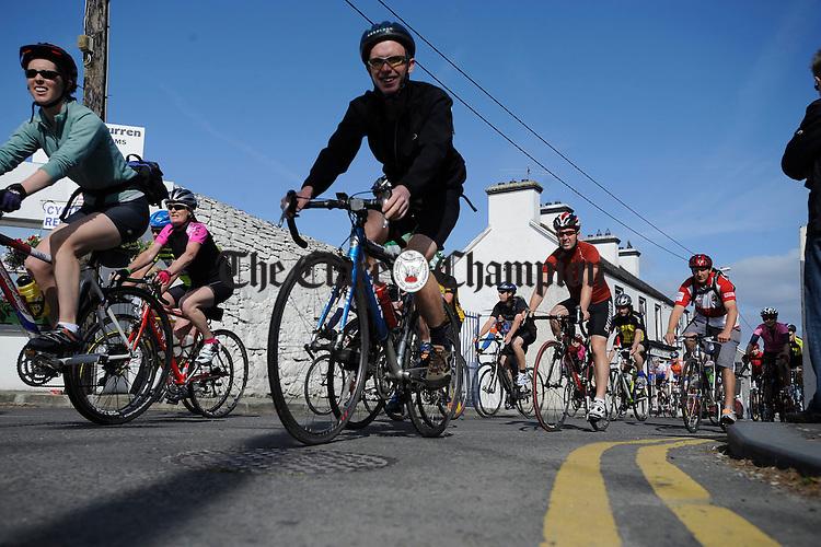 Participants set off through Ballyvaughan village during the Tour de Burren. Photograph by John Kelly.