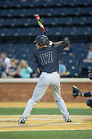 Bruce Steel (17) of the Wake Forest Demon Deacons at bat against the West Virginia Mountaineers in Game Six of the Winston-Salem Regional in the 2017 College World Series at David F. Couch Ballpark on June 4, 2017 in Winston-Salem, North Carolina.  The Demon Deacons defeated the Mountaineers 12-8.  (Brian Westerholt/Four Seam Images)