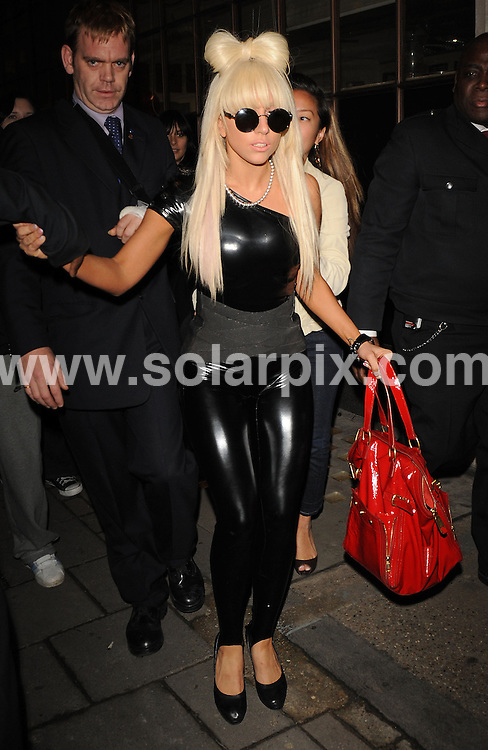 **ALL ROUND PICTURES FROM SOLARPIX.COM**.**WORLDWIDE SYNDICATION RIGHTS**.Lady Gaga departs from Radio 1 after being a guest on the Scott Mills show.  London.JOB REF:  8249   SSD-ATM     DATE: 16.01.09.**MUST CREDIT SOLARPIX.COM OR DOUBLE FEE WILL BE CHARGED* *ONLINE USAGE FEE £50.00 PER PICTURE - NOTIFICATION OF USAGE TO PHOTO@SOLARPIX.COM*.