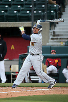 Nazier Mcilwain #26 of the Coppin State Eagles bats against the Southern California Trojans at Dedeaux Field on February 18, 2017 in Los Angeles, California. Southern California defeated Coppin State, 22-2. (Larry Goren/Four Seam Images)