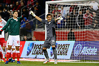 Harrison, NJ - Tuesday April 10, 2018: Jesús Godinez, Rodolfo Cota during leg two of a  CONCACAF Champions League semi-final match between the New York Red Bulls and C. D. Guadalajara at Red Bull Arena. C. D. Guadalajara defeated the New York Red Bulls 0-0 (1-0 on aggregate).