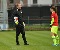 Zulte Waregem's goalkeeper coach Giovanni Vandenbussche with Zulte Waregem's goalkeeper Ianthe Meersschaert  pictured during a female soccer game between Eendracht Aalst and SV Zulte Waregem on the seventh matchday of the 2020 - 2021 season of Belgian Scooore Womens Super League , Saturday 14 th of November 2020  in Aalst , Belgium . PHOTO SPORTPIX.BE | SPP | DIRK VUYLSTEKE