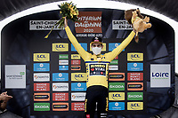 After winning Strade Bianche and Milan-Sanremo just days before, Wout van Aert (BEL/Jumbo - Visma) now also claims the first stage of the Dauphiné & thus becomes the first GC leader in this race<br /> <br /> Stage 1: Clermont-Ferrand to Saint-Christo-en-Jarez (218km)<br /> 72st Critérium du Dauphiné 2020 (2.UWT)<br /> <br /> ©kramon