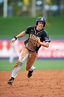 Army West Point center fielder Jacob Hurtubise (39) running the bases during a game against the Michigan Wolverines on February 18, 2018 at First Data Field in St. Lucie, Florida.  Michigan defeated Army 7-3.  (Mike Janes/Four Seam Images)