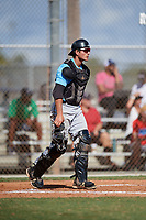 Joe Stella during the WWBA World Championship at the Roger Dean Complex on October 19, 2018 in Jupiter, Florida.  Joe Stella is a catcher from Pittston, Pennsylvania who attends Pittston Area High School and is committed to Maine.  (Mike Janes/Four Seam Images)