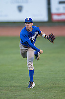 Burlington Royals right fielder Ben Johnson (6) follows through on a throw to the plate during the game against the Bristol Pirates at Boyce Cox Field on July 10, 2015 in Bristol, Virginia.  The Pirates defeated the Royals 9-4. (Brian Westerholt/Four Seam Images)
