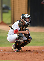 Lake Mary Rams catcher Bradley Nenna (11) during a game against the Lake Brantley Patriots on April 2, 2015 at Allen Tuttle Field in Lake Mary, Florida.  Lake Brantley defeated Lake Mary 10-5.  (Mike Janes/Four Seam Images)