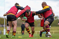 Dave WARD (16) of Ampthill (centre) during the Greene King IPA Championship match between Ampthill RUFC and Jersey Reds at Dillingham Park, Ampthill, England on 1 May 2021. Photo by David Horn.