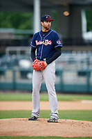 New Hampshire Fisher Cats starting pitcher T.J. Zeuch (28) during the second game of a doubleheader against the Harrisburg Senators on May 13, 2018 at FNB Field in Harrisburg, Pennsylvania.  New Hampshire defeated Harrisburg 6-1.  (Mike Janes/Four Seam Images)