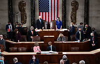 US Vice President Mike Pence presides over a joint session of Congress to count the electoral votes for President at the US Capitol in Washington, DC, January 6, 2021.<br /> Credit: Saul Loeb / Pool via CNP/AdMedia