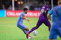 LAKE BUENA VISTA, FL - JULY 14: Ismael Tajouri-Shradi #29 of NYCFC dribbles the ball during a game between Orlando City SC and New York City FC at Wide World of Sports on July 14, 2020 in Lake Buena Vista, Florida.