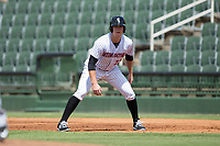 Gavin Sheets (23) of the Kannapolis Intimidators takes his lead off of first base against the Hagerstown Suns at Kannapolis Intimidators Stadium on July 9, 2017 in Kannapolis, North Carolina.  The Intimidators defeated the Suns 3-2 in game one of a double-header.  (Brian Westerholt/Four Seam Images)
