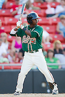 Rand Smith #21 of the Greensboro Grasshoppers at bat against the Hickory Crawdads at  L.P. Frans Stadium July 10, 2010, in Hickory, North Carolina.  Photo by Brian Westerholt / Four Seam Images