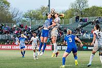Boston, MA - Sunday May 07, 2017: Morgan Andrews and Samantha Mewis during a regular season National Women's Soccer League (NWSL) match between the Boston Breakers and the North Carolina Courage at Jordan Field.
