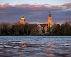 April 30, 2020; Campus Skyline at sunset (Photo by Matt Cashore/University of Notre Dame)