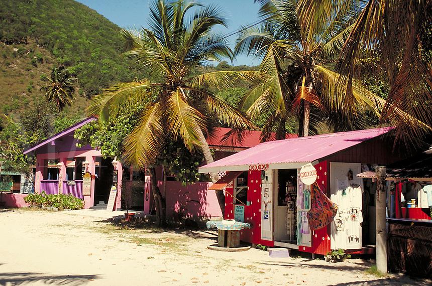 colorful stores on beach of Great Harbor. Jost Van Dyke, British Virgin Islands Caribbean.