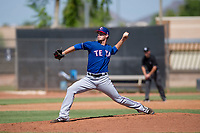 Texas Rangers pitcher Cole Ragans (54) delivers a pitch to the plate during an Instructional League game against the San Diego Padres on September 20, 2017 at Peoria Sports Complex in Peoria, Arizona. (Zachary Lucy/Four Seam Images)