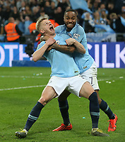 Raheem Sterling of Manchester City and Oleksandr Zinchenko of Manchester City celebrate victory at the end of the Carabao Cup Final match between Chelsea and Manchester City at Stamford Bridge on February 24th 2019 in London, England. (Photo by Paul Chesterton/phcimages.com)<br /> Foto PHC Images / Insidefoto <br /> ITALY ONLY