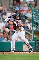 Rochester Red Wings catcher Cameron Rupp (16) at bat during a game against the Lehigh Valley IronPigs on June 29, 2018 at Frontier Field in Rochester, New York.  Lehigh Valley defeated Rochester 2-1.  (Mike Janes/Four Seam Images)