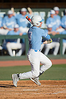 Kyle Datres (3) of the North Carolina Tar Heels follows through on his swing against the Kentucky Wildcats at Boshmer Stadium on February 17, 2017 in Chapel Hill, North Carolina.  The Tar Heels defeated the Wildcats 3-1.  (Brian Westerholt/Four Seam Images)