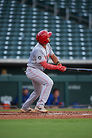 AZL Reds Jose Tello (40) hits a home run during an Arizona League game against the AZL Cubs 2 on July 23, 2019 at Sloan Park in Mesa, Arizona. AZL Cubs 2 defeated the AZL Reds 5-3. (Zachary Lucy/Four Seam Images)