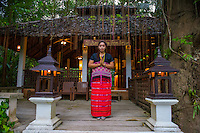 Thailand, Mae Hong Son. Fern Resort. Woman frm the Karen tribe that is trained to work at the Fern Resort.