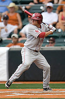 Shortstop Caleb Bushyhead #5 of the Oklahoma Sooners at bat against the Texas Longhorns in NCAA Big XII baseball on May 1, 2011 at Disch Falk Field in Austin, Texas. (Photo by Andrew Woolley / Four Seam Images)