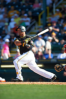 Pittsburgh Pirates right fielder Harold Ramirez (72) at bat during a Spring Training game against the Boston Red Sox on March 9, 2016 at McKechnie Field in Bradenton, Florida.  Boston defeated Pittsburgh 6-2.  (Mike Janes/Four Seam Images)