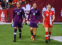 Vancouver, Canada - Thursday November 09, 2017: Kailen Sheridan, Sabrina D'Angel, Maegan Kelly during an International friendly match between the Women's National teams of the United States (USA) and Canada (CAN) at BC Place.