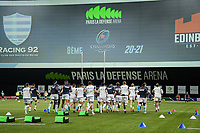 4th April 2021; Paris La Défense Arena, Nanterre, Paris, France; European Champions Cup Rugby, Racing 92 versus Edinburgh;  Team Racing  during warm up