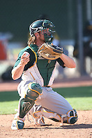 Nick Rickles #44 of the Oakland Athletics during a Minor League Spring Training Game against the Los Angeles Angels at the Los Angeles Angels Spring Training Complex on March 17, 2014 in Tempe, Arizona. (Larry Goren/Four Seam Images)
