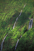 Waiilikahi Falls in Waimanu Valley in North Kohala on the Big Island.  Ribbons of white flow down the lush green valley wall