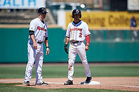 Rochester Red Wings coach Toby Gardenhire (37) and Zack Granite (2) during a game against the Scranton/Wilkes-Barre RailRiders on June 7, 2017 at Frontier Field in Rochester, New York.  Scranton defeated Rochester 5-1.  (Mike Janes/Four Seam Images)