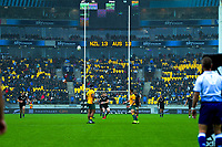 NZ's Jordie Barrett kicks for goal during the Bledisloe Cup rugby union match between the New Zealand All Blacks and Australia Wallabies at Sky Stadium in Wellington, New Zealand on Sunday, 11 October 2020. Photo: Dave Lintott / lintottphoto.co.nz