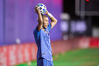 LAKE BUENA VISTA, FL - JULY 14: Anton Tinnerholm #3 of NYFC passes the ball during a game between Orlando City SC and New York City FC at Wide World of Sports on July 14, 2020 in Lake Buena Vista, Florida.