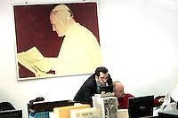 Redazione dell'Osservatore Romano, Citta' del Vaticano, 10 marzo 2009. Sullo sfondo, una foto di Papa Giovanni Paolo II..Editorial office of the Vatican newspaper L'Osservatore Romano, Vatican City, 10 march 2009. On background, a picture portrayng Pope John Paul II..UPDATE IMAGES PRESS/Riccardo De Luca