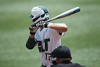 Todd Elwood (17) of the Charlotte 49ers at bat against the UTSA Roadrunners at Hayes Stadium on April 18, 2021 in Charlotte, North Carolina. (Brian Westerholt/Four Seam Images)