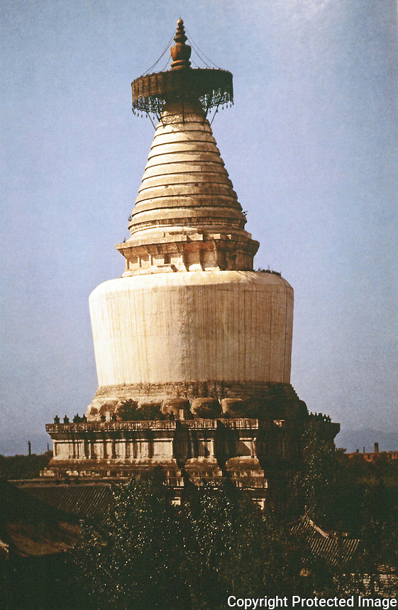 """China:  Chinese Architecture--White Pagoda of Miaoying Temple, Beijing.  Yuan Dynasty 1279 A.D. """"It was said that the pagoda was designed by a Nepalese.... Lamaism not until Yuan did such designs appear in North and Central China."""