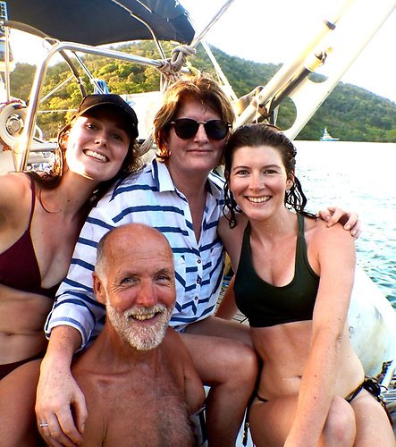 Garry Crothers on Kind of Blue with his daughter Oonagh (left), his wife Marie, and daughter Amy in cruising mode in the Caribbean. When the pandemic arrived, the one-armed sailor was alone, and had to sail back to Ireland on his own