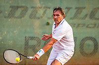 Hilversum, The Netherlands,  August 20, 2021,  Tulip Tennis Center, NKS, National Senior Tennis Championships, Men's Doubles 60+,  Theo Gorter (NED) <br /> Photo: Tennisimages/Henk Koster