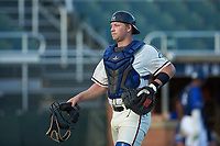 High Point-Thomasville HiToms catcher Jonathan Barham (35) (College of Charleston) jogs off the field between innings of the game against the Martinsville Mustangs at Finch Field on July 26, 2020 in Thomasville, NC.  The HiToms defeated the Mustangs 8-5. (Brian Westerholt/Four Seam Images)