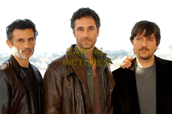 "ENRICO LO VERSO, RAOUL BOVA & RICKY MEMPHIS.Photocall for ""Milano-Palermo: il ritorno"", Rome, Italy..November 15th, 2007.half length brown leather jacket stubble facial hair black .CAP/CAV.©Luca Cavallari/Capital Pictures."