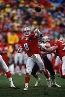 SAN FRANCISCO, CA:  Quarterback Steve Young of the San Francisco 49ers throws a pass during the NFC playoff game against the Chicago Bears at Candlestick Park in San Francisco, California on January 7, 1995. (Photo by Brad Mangin)