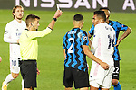 French referee Clement Turpin shows yellow card to Real Madrid's Carlos Henrique Casemiro during UEFA Champions League match. November 3,2020.(ALTERPHOTOS/Acero)