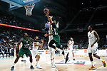 Zalgiris' Deon Thompson, Zalgiris' Brandon Davies and Real Madrid's Trey Thompkins during Euroligue match between Real Madrid and Zalgiris Kaunas at Wizink Center in Madrid, Spain. April 4, 2019.  (ALTERPHOTOS/Alconada)