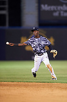 Tampa Yankees shortstop Jorge Mateo (14) throws to first base during a game against the Bradenton Marauders on April 15, 2017 at George M. Steinbrenner Field in Tampa, Florida.  Tampa defeated Bradenton 3-2.  (Mike Janes/Four Seam Images)