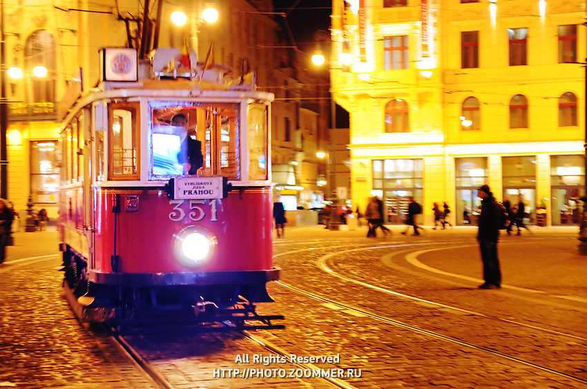 The Nostalgic Tram # 91 is a historic tram that runs on weekends and holidays from April through mid-November. Old retro tram at night.